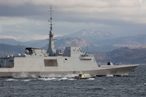 """This French Navy Aquitaine Class Destroyer """"FS Aquitaine"""" (D650) is seen arriving at Her Majesty's Naval Base Clyde, also known as Faslane. The French are huge users of HF, in particular they use STANAG4258, RTTY and HF-ALE. The STANAG and RTTY is normally encrypted but you can sometimes get callsign information from the messages. They also use USB, especially the Transports, AWACS and Maritime Patrol Aircraft"""
