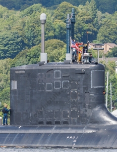 """SSN Missouri"", a USN Virginia Class SSN, leaving Faslane in 2013."