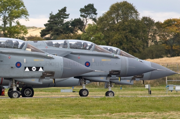 Three Tornados of the RAF carry out final checks lined up on the runway during Joint Warrior 12-2 in October 2012. Tornados operate with two crew, Pilot and Navigator/Weapons Officer, and have been in full service in the RAF since 1982 but are now in their final years. They have served the RAF well over this time, taking part in all combat Operations since their initial introduction into service, including Operation Desert Storm where they flew as low as 50 feet at over 500mph (something they do every day over Scotland). Their crews are probably the best Low-Level combat pilots in the World