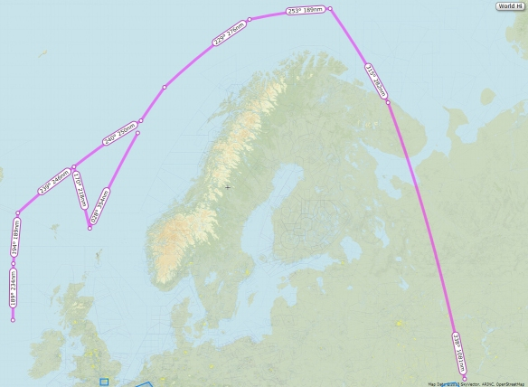 "Two approximate routes routinely taken by ""Bear"" flights towards the UK. The route to the west of the country causes no end of trouble as the route cuts south, and then north again, straight through the Atlantic Oceanic tracks which is a non-radar environment. They also cut south between the UK and Norway, down towards Dutch airspace Map features courtesy of SkyVector.com"