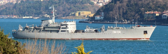 Amur Class Floating Workshop PM-138 (ПМ-138) passes through the Bosporus. This uses the callsign RBIZ (РБИЗ) on the CW networks. PM-138 is part of the Black Sea Fleet and normally carries out a six month rotation off Tartus, Syria, with the Amur Class PM-56 (ПМ-56), callsign RIR98 (РИР98) - Photo by
